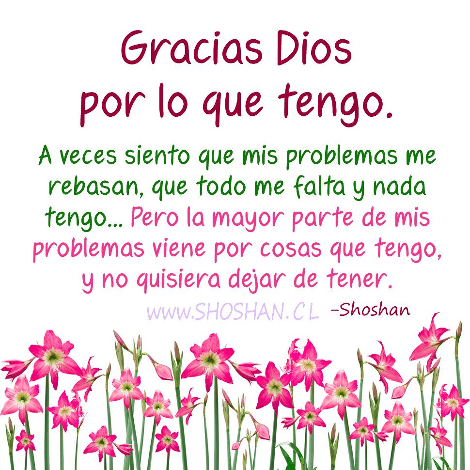 Gracias Dios por lo que tengo. A veces siento que mis problemas me rebasan, que todo me falta y nada tengo... Pero la mayor parte de mis problemas viene por cosas que tengo, y no quisiera dejar de tener.